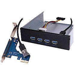 """伽利略 PCI-E 前置 5.25""""USB3.0 4埠"""