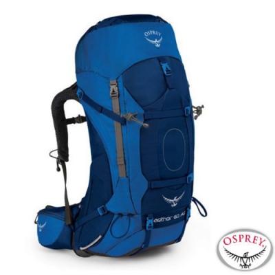 OSPREY 新款 Aether AG 60L 輕量透氣健行登山背包M_海星藍 R