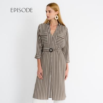 EPISODE - 知性優雅V領條紋腰帶洋裝