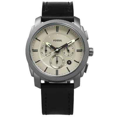 FOSSIL 時尚紳士三眼計時日期日本機芯真皮手錶-米灰x灰框x黑/42mm