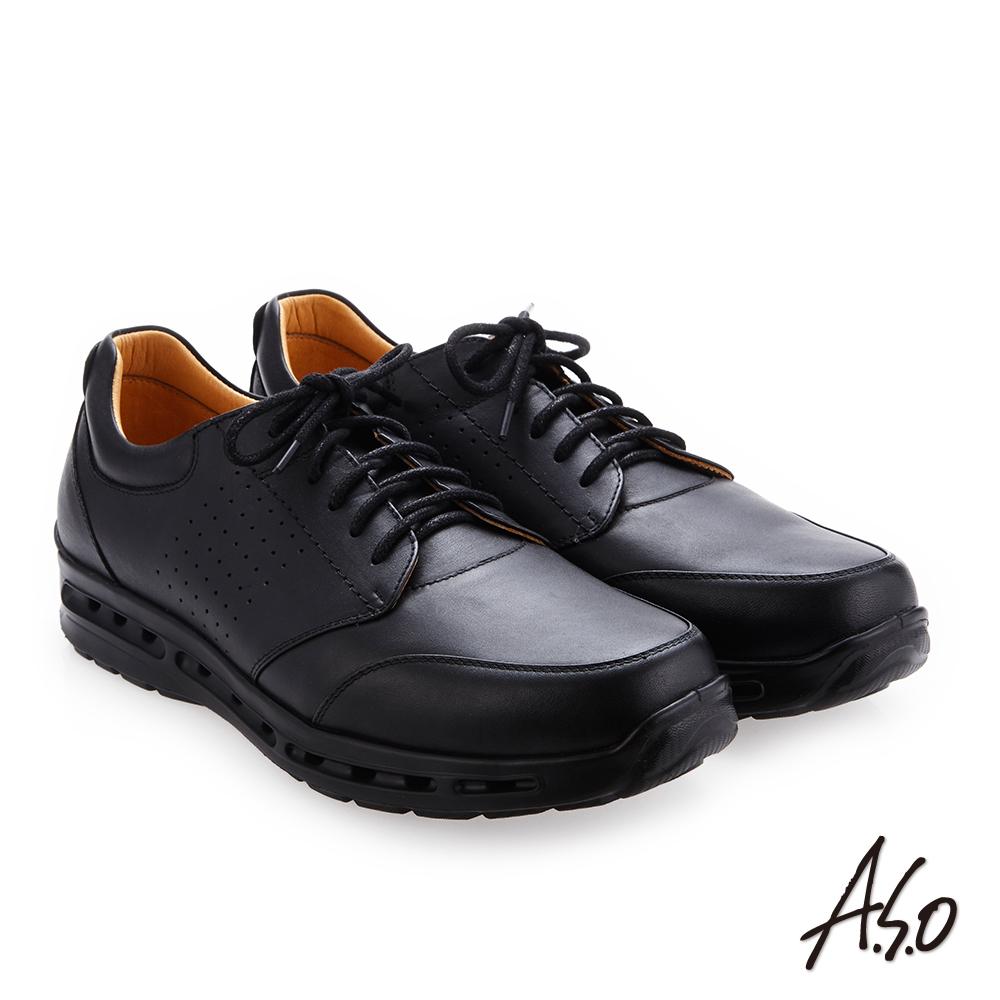 A.S.O霸足氣墊 綁帶奈米牛皮紳士鞋 黑