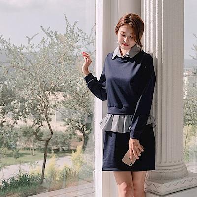 純色圓領拼接直條紋襯衫領假兩件套裝洋裝-OB大尺碼