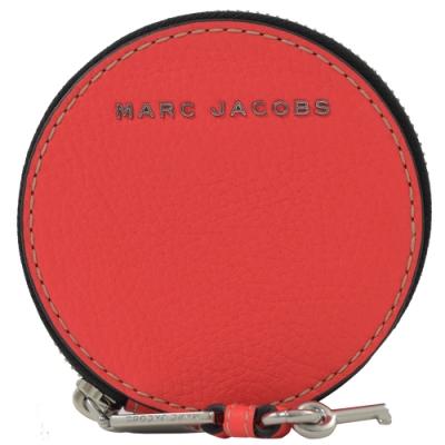 MARC JACOBS 金屬LOGO牛皮圓型零錢包(亮粉桃)