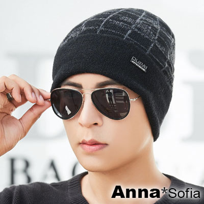 AnnaSofia 經緯格線橫標 保暖加厚針織貼頭毛帽(酷黑系)