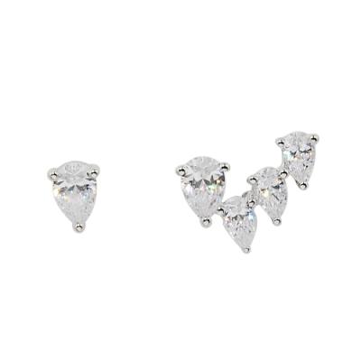 apm MONACO法國精品珠寶 閃耀銀色鑲鋯不對稱水滴耳針式耳環