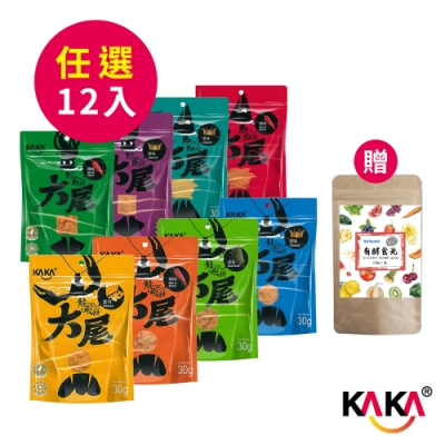 KAKA大尾系列30g(龍蝦餅、魚酥條、魷魚餅)任選x12入 贈 Karihealth 有酵食光120g/包x1入