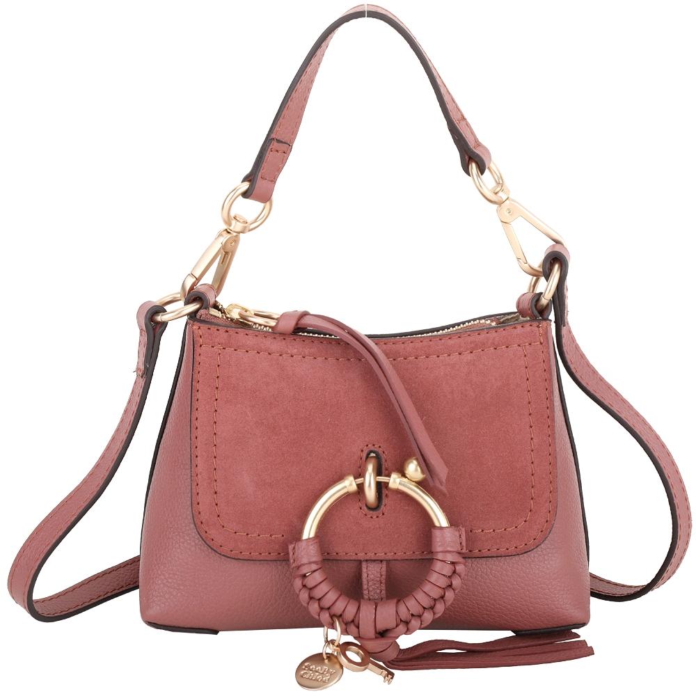 SEE BY CHLOE Joan 迷你款 編織金屬環拼接皮革手提肩背包(粉棕色)
