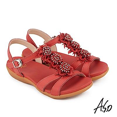 A.S.O 希臘渡假 全真皮牛皮立體花卉休閒涼鞋 紅