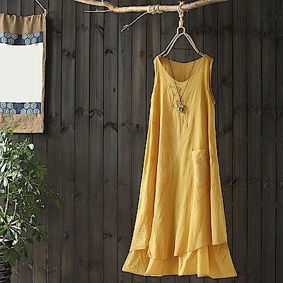 棉質刺繡洋裝文藝寬鬆長裙無袖背心裙-設計所在