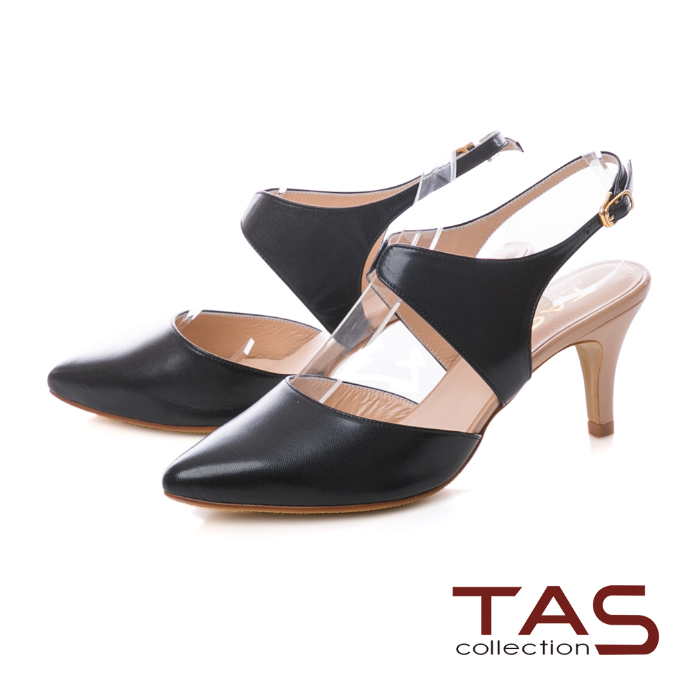 TAS 素面鏤空尖頭高跟涼鞋-成熟黑