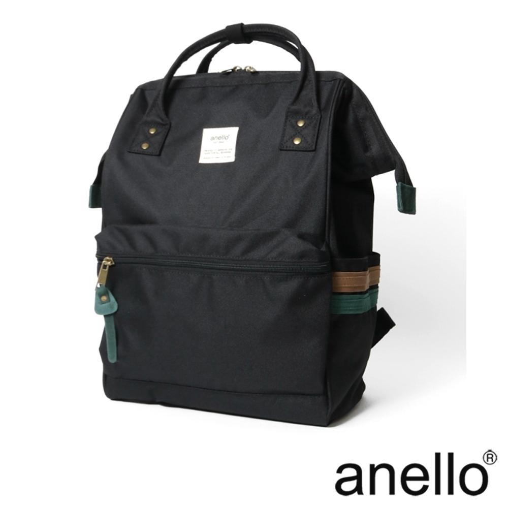 anello 2LINE 側彩條經典口金後背包 黑色 L