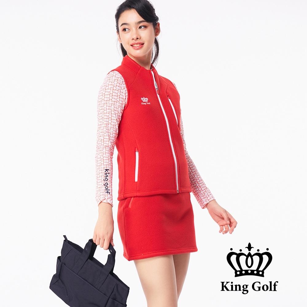 【KING GOLF】搖粒絨毛絨跳色拉鍊無袖背心-紅色