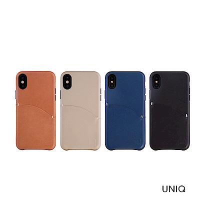 UNIQ iPhone X/XS 真皮插卡手機保護殼