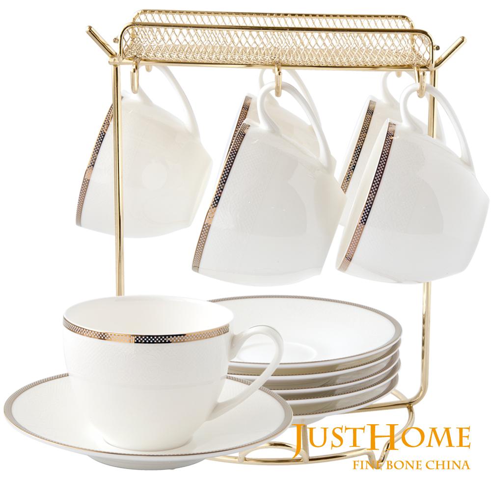 【Just Home】孟菲斯高級骨瓷6入咖啡杯盤組附收納架(附禮盒)