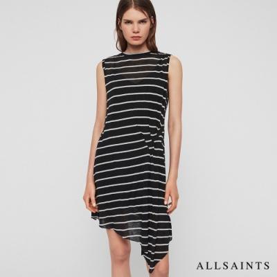 ALLSAINTS DUMA 經典條紋不對稱下擺羊毛混紡無袖短洋裝-黑白條紋