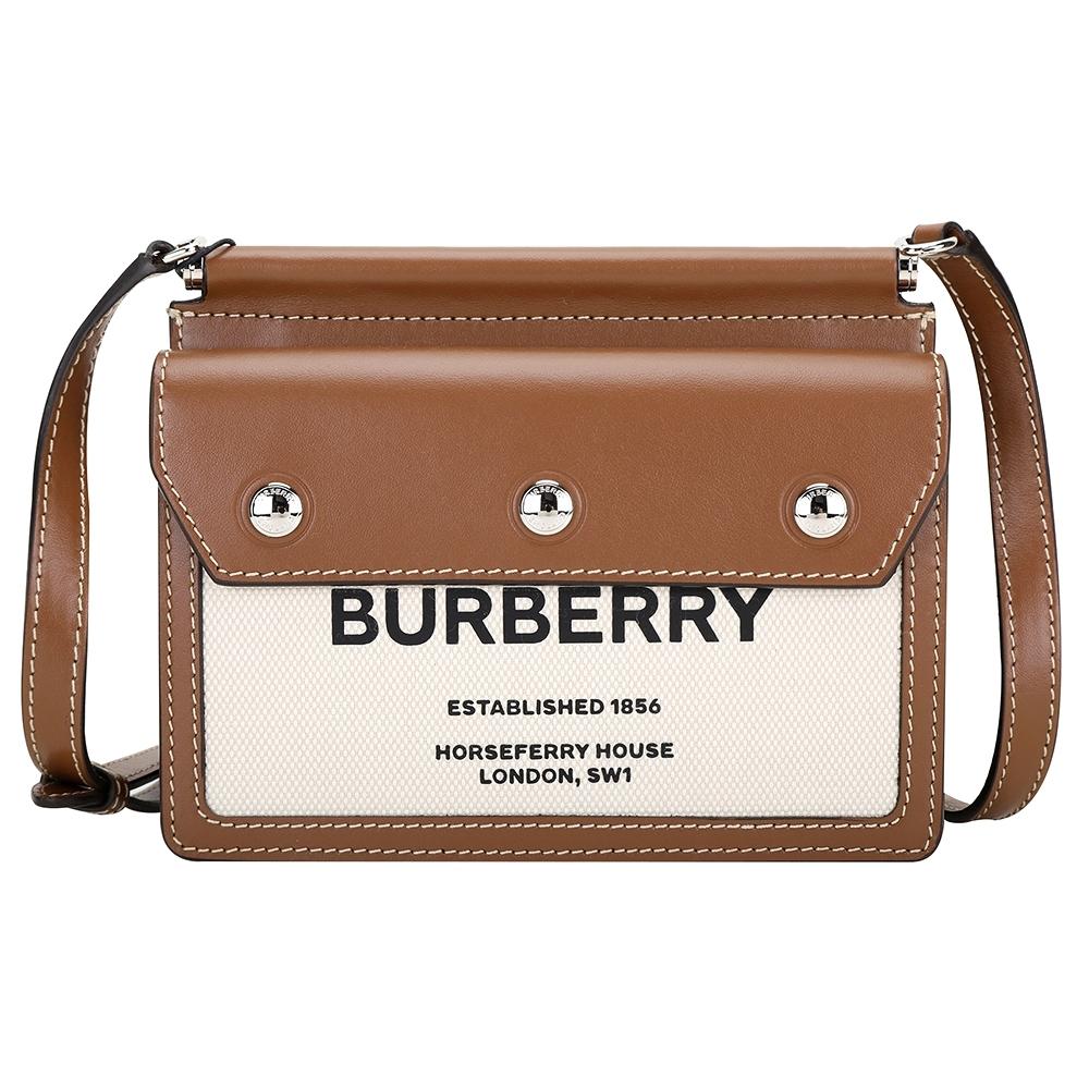 BURBERRY Horseferry Title 字母印花口袋細節泰爾勒斜背包(自然色x麥芽棕)