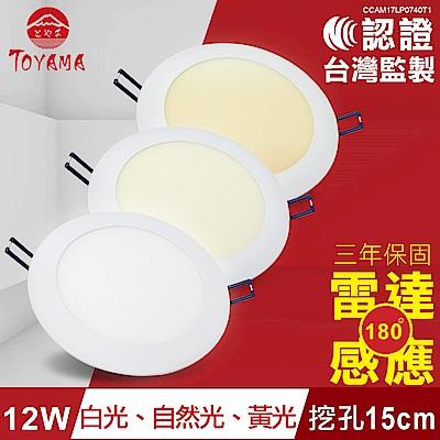 TOYAMA特亞馬 12W超薄LED雷達微波感應崁燈 挖孔尺寸15cm( 黃光、自然光、白光任選)
