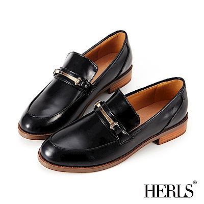 HERLS 內真皮 復古學院金屬釦低跟樂福鞋-黑色