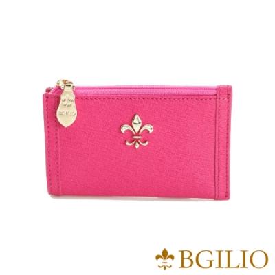 義大利BGilio-十字紋牛皮零錢鑰匙包-桃紅 (1736.322A-14)