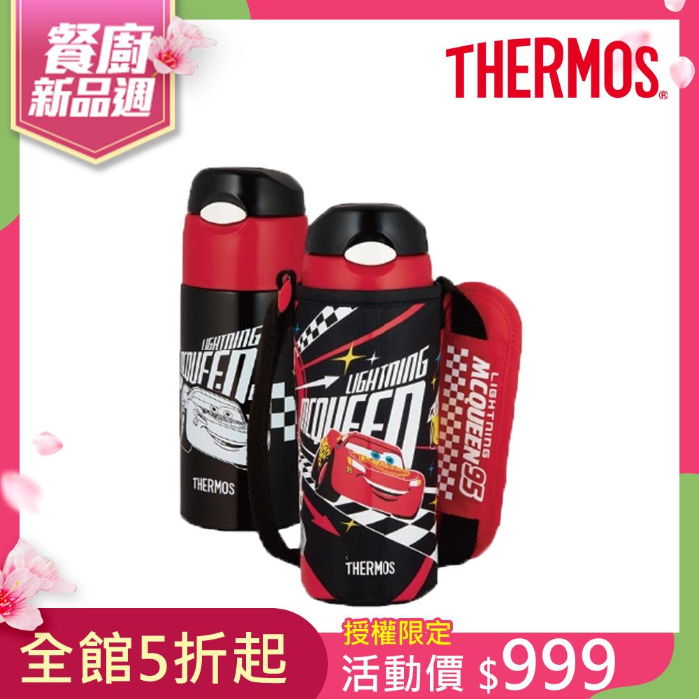 THERMOS膳魔師不鏽鋼真空保冷瓶0.4L-Cars汽車總動員(FHL-401FDS-BKC)