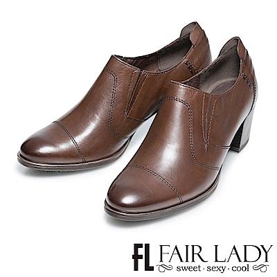 Fair Lady 低調經典粗跟鞋 橄欖綠