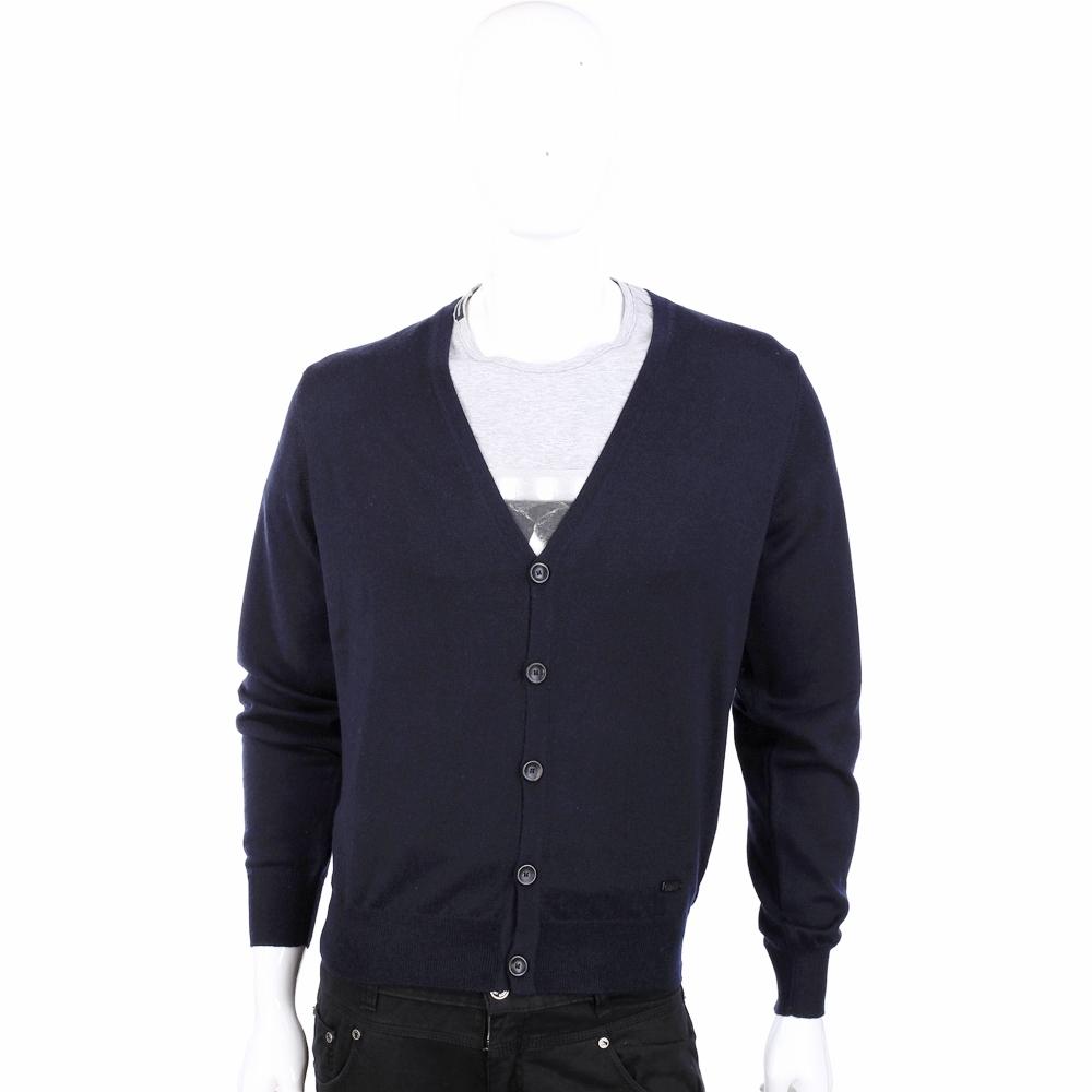 ARMANI COLLEZIONI 純羊毛V領夜藍色開襟針織衫