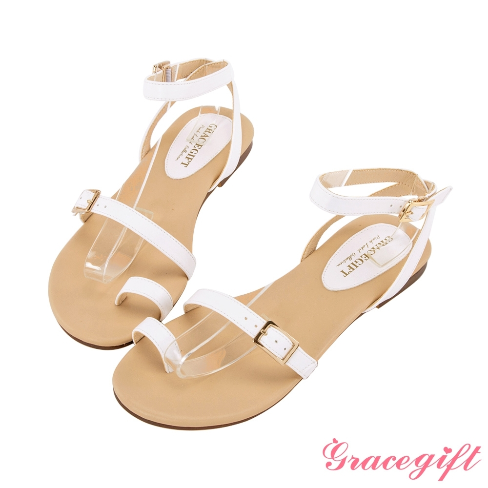 Grace gift-簡約一字金屬細帶涼鞋 白