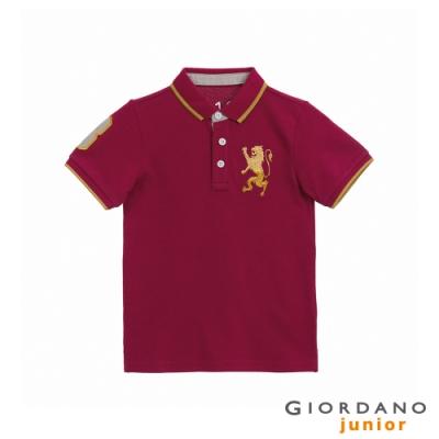GIORDANO   童裝勝利獅王漸層刺繡彈力萊卡POLO衫 - 98 標誌紅