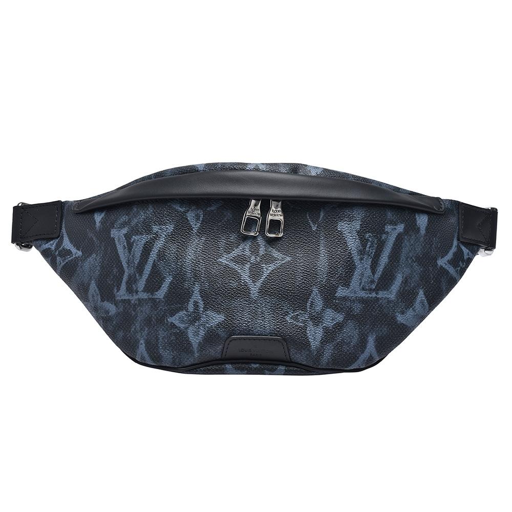 LV M57276 Discovery Pastel Noir帆布牛皮飾邊斜背/腰包