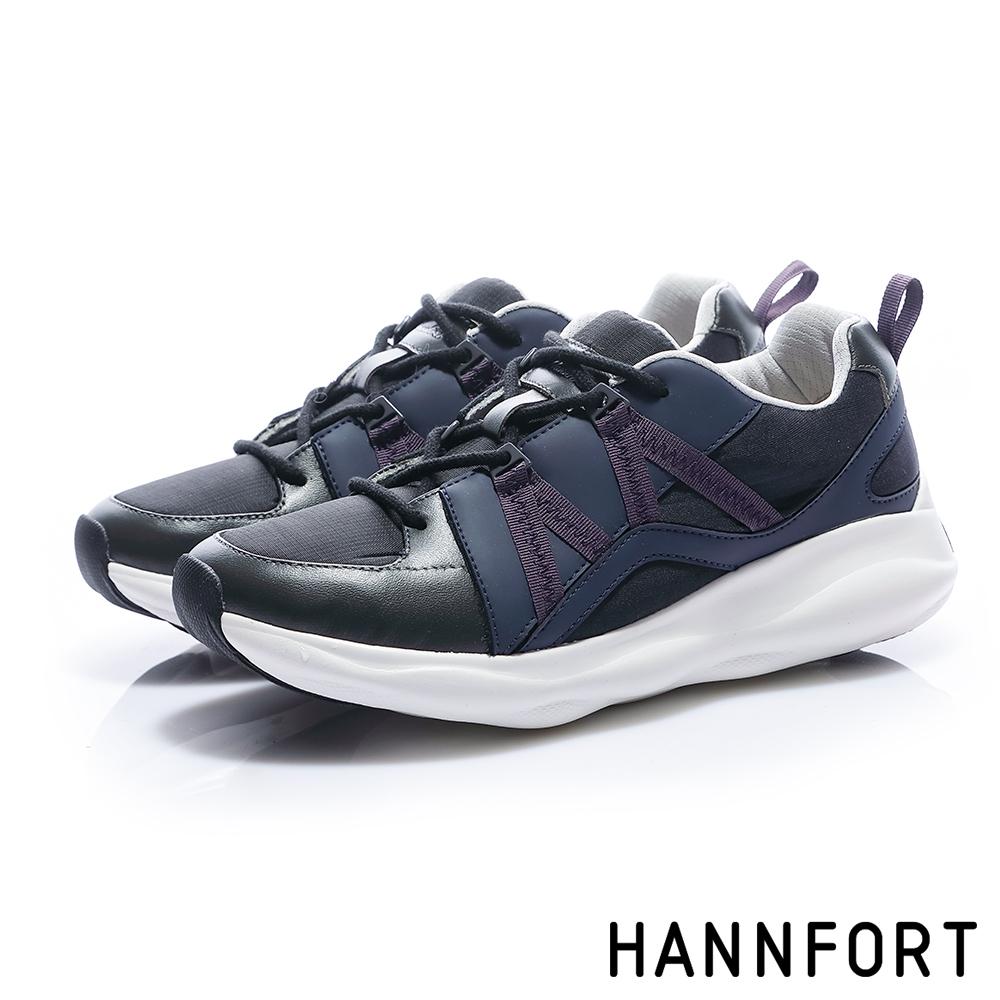 HANNFORT BUBBLES M織帶厚底跑鞋-女-層次黑
