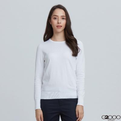 G2000素面長袖針織衫-白色