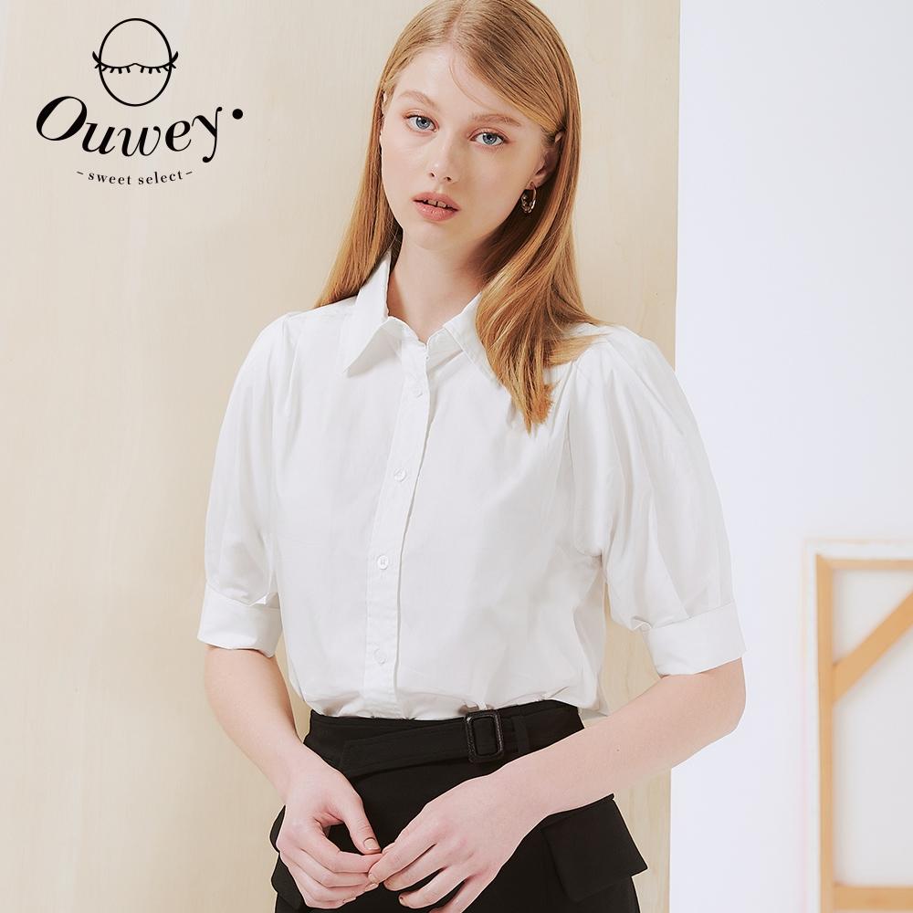 OUWEY歐薇 百搭公主五分袖純棉短版襯衫(白)3212321513