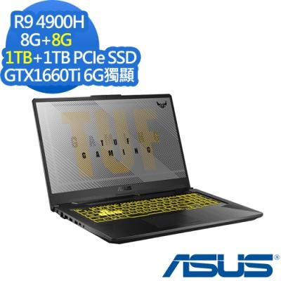 ASUS FA706IU 17.3吋電競筆電 Ryzen9 4900H/GTX1660Ti 6G獨顯/8G+8G/1TB+1TB PCIe SSD/Win10/TUF Gaming/特仕版