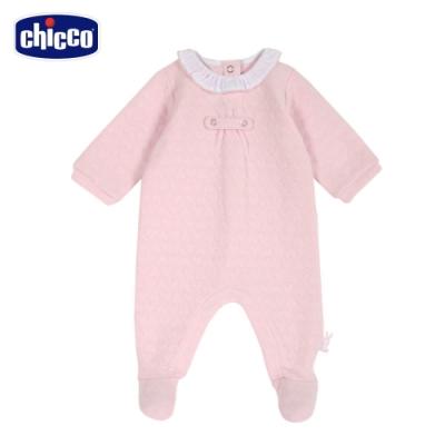 chicco-甜蜜小兔-心型夾棉荷葉領後開兔裝