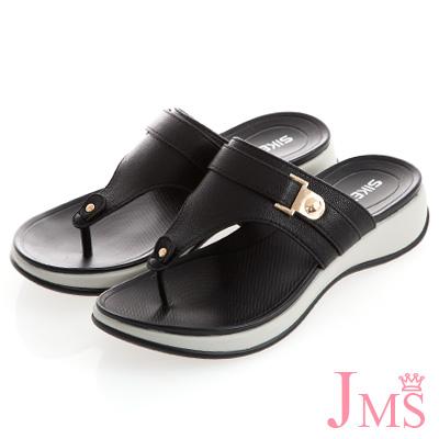 JMS-自在夏氛皮革繫帶Q軟夾腳涼拖鞋-黑色