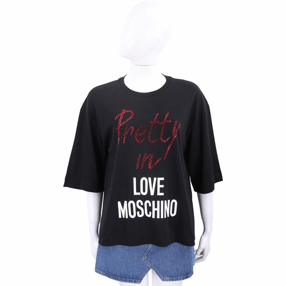 LOVE MOSCHINO 水鑽字母黑色落肩短袖TEE T恤