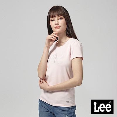 Lee 銀箔LOGO短袖圓領T恤-粉紅