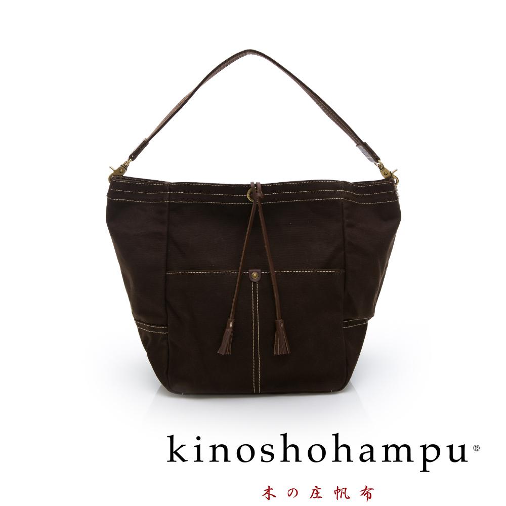 kinoshohampu 經典筒型束口帆布包 咖啡