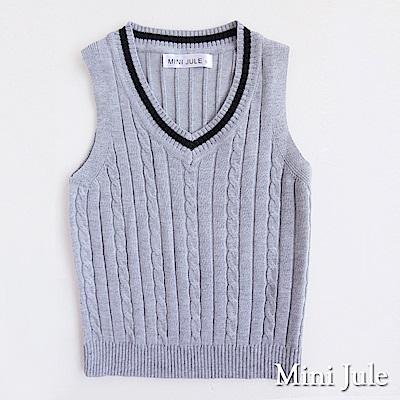 Mini Jule背心麻花針織單線V領背心花灰