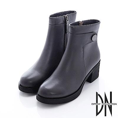 DN 簡約時尚 純色真皮毛裡拉鍊厚底踝靴-灰