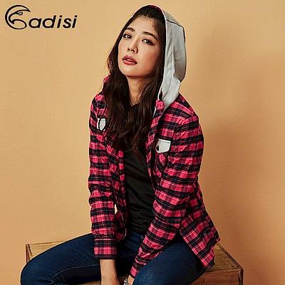 ADISI 女格紋速乾保暖連帽襯衫AL1821092【桃紅】