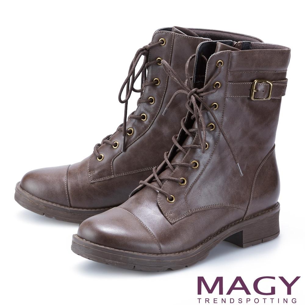MAGY 中性帥氣真皮拉鍊綁帶 女 短靴 可可