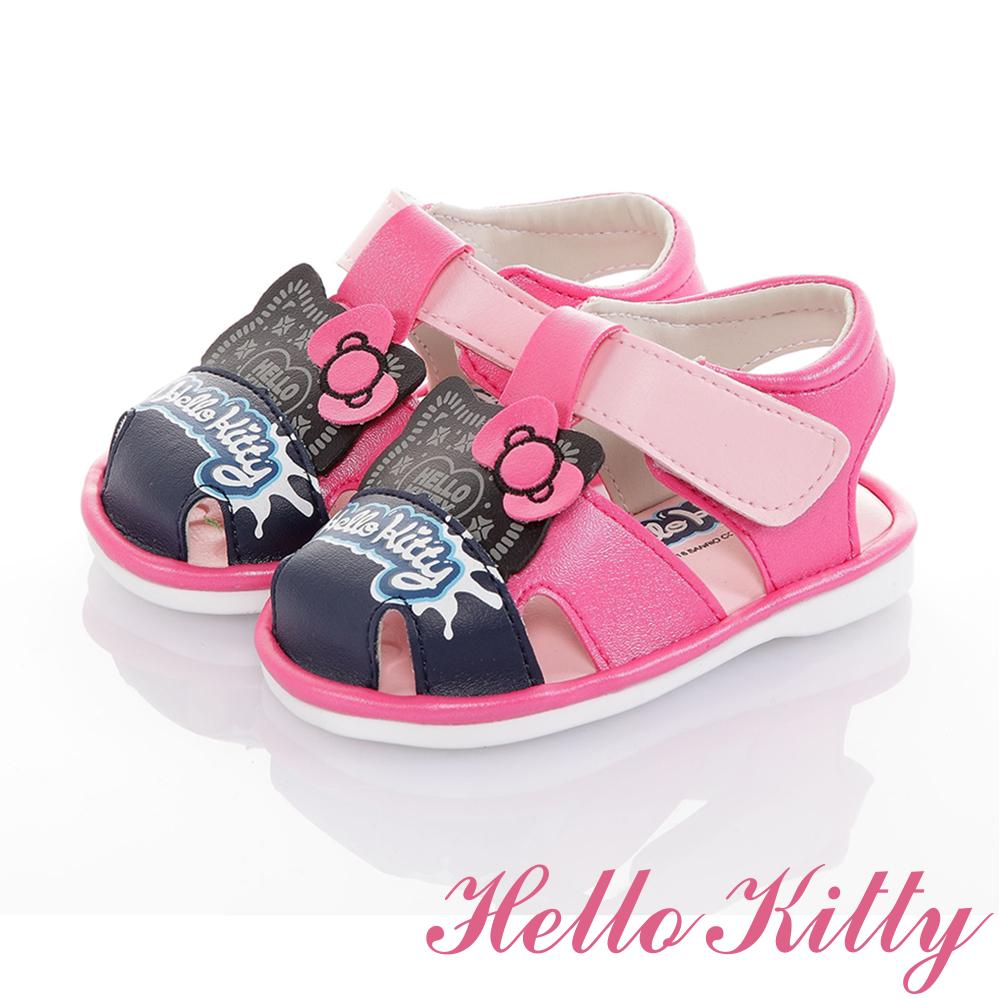 HelloKitty童鞋 輕量減壓吸震寶寶學步嗶嗶涼鞋-桃