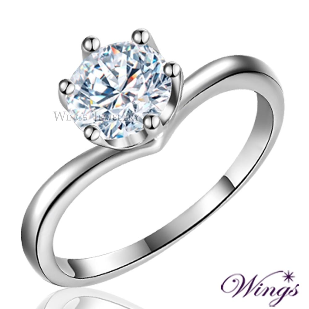【WINGS】為愛加冕 八心八箭擬真鑽925純銀精鍍白K金戒指(擬真鑽 情人 禮物 聖誕) RW130