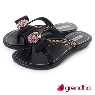Grendha 晶鑽玫瑰蝴蝶結夾腳鞋-女童-黑色