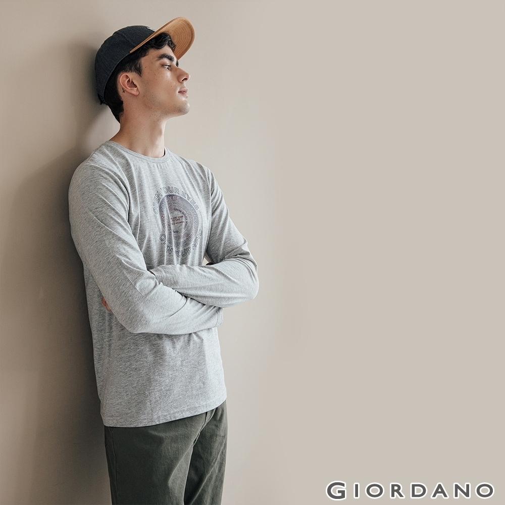 GIORDANO 男裝EXPLORE FUTURE印花長袖T恤- 23 中花灰