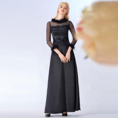 OMUSES 毛領蕾絲刺繡拼接緞長禮服