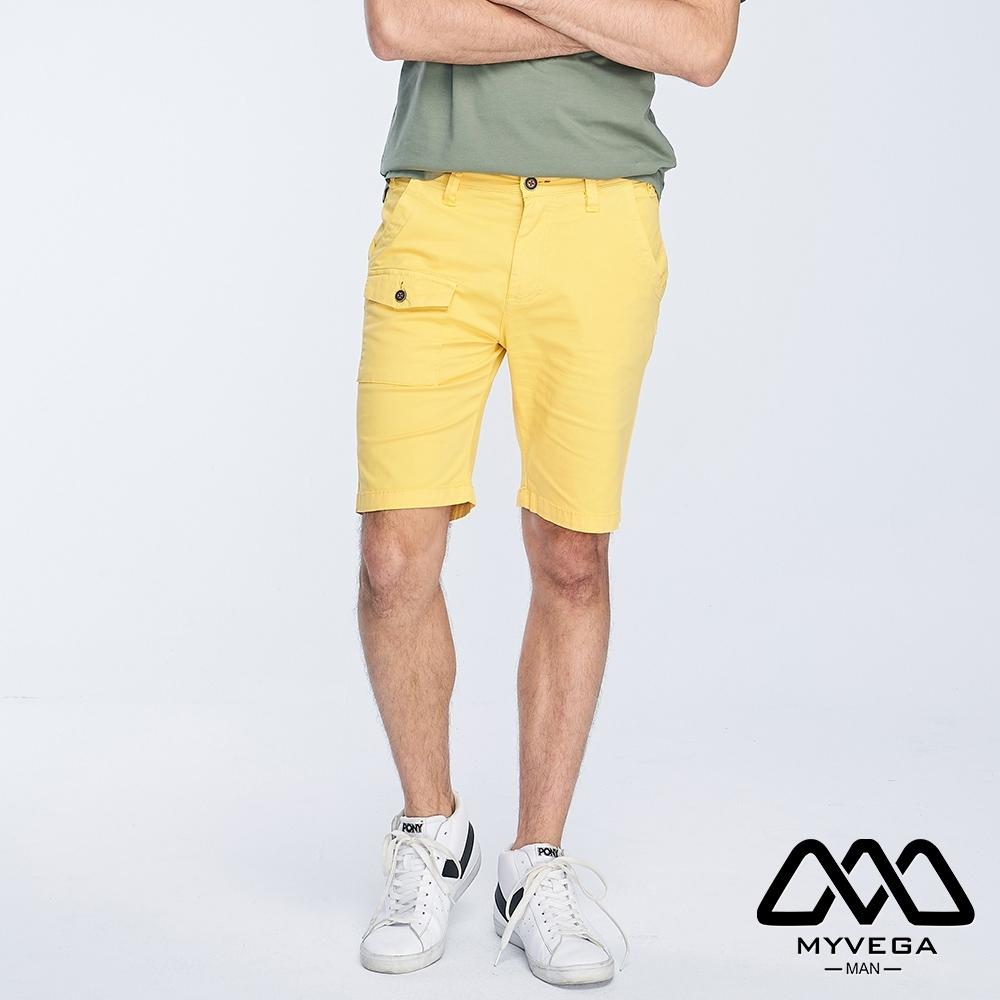 MYVEGA MAN工裝貼袋素色短褲-黃