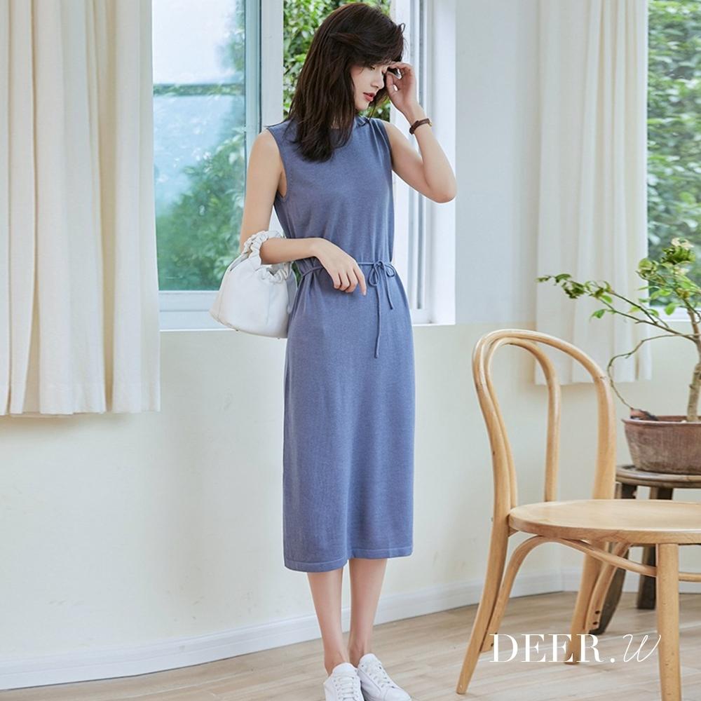 DEER.W 無袖後釦細綁帶針織洋裝(灰藍)