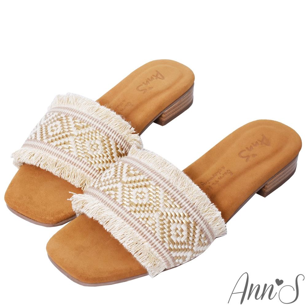 Ann'S水洗牛皮-波西米亞金線流蘇木紋跟方頭涼拖鞋